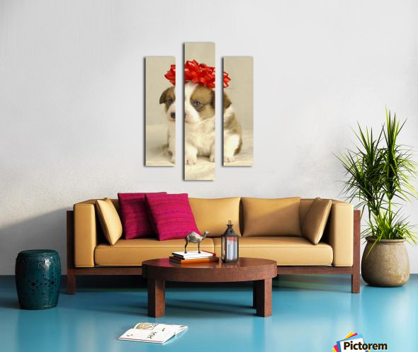 Puppy Wearing A Red Bow Canvas print