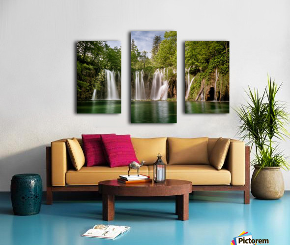Idyllic Waterfall at Plitvice Lakes Canvas print