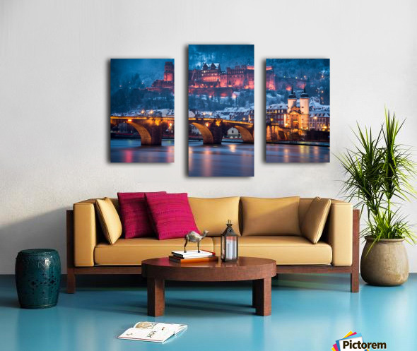 Heidelberg Castle and Old Brige in Winter Canvas print