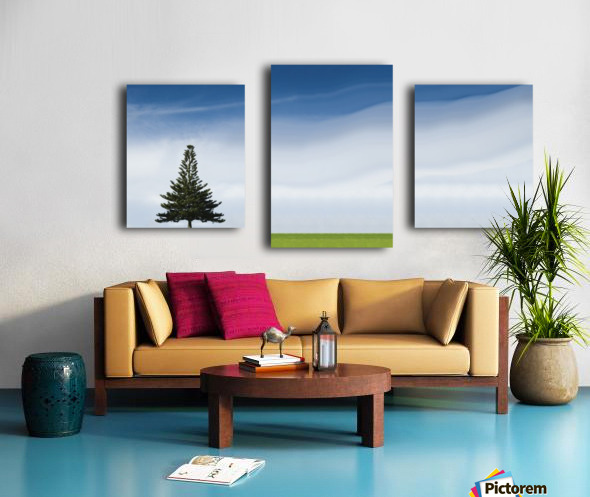 A Coniferous Tree Standing Alone In A Field Canvas print