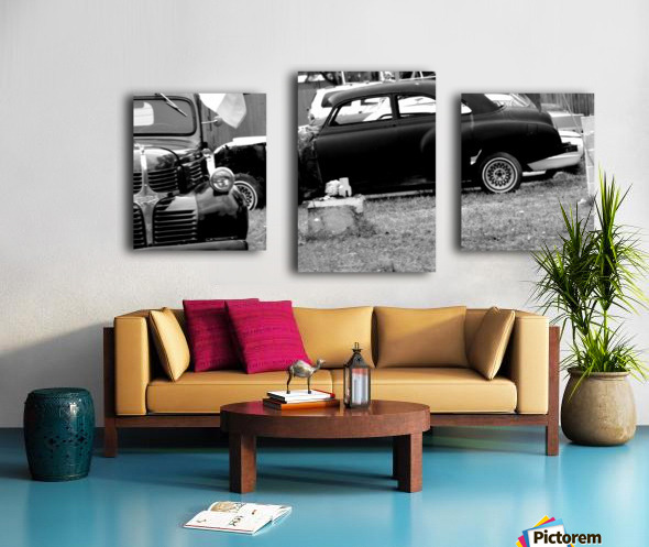 Black and White Vintage Cars Canvas print