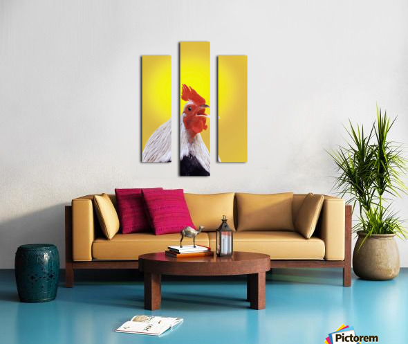 Crowing rooster;British columbia canada Canvas print