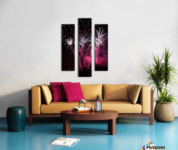 Colourful fireworks at nighttime; Calgary, Alberta, Canada Canvas print