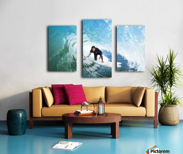 Surfer On Blue Ocean Wave Canvas print