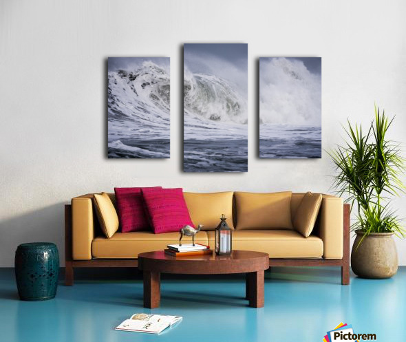 A large wave breaks on a stormy morning; Seaside, Oregon, United States of America Canvas print