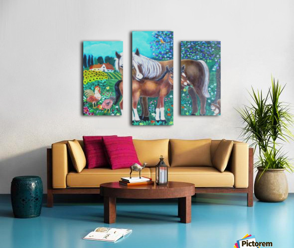 A mare and her foal. Canvas print
