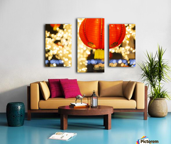 Red and gold Chinese lantern with sparkling white lights in the background, Granville Island; Vancouver, British Columbia, Canada Canvas print