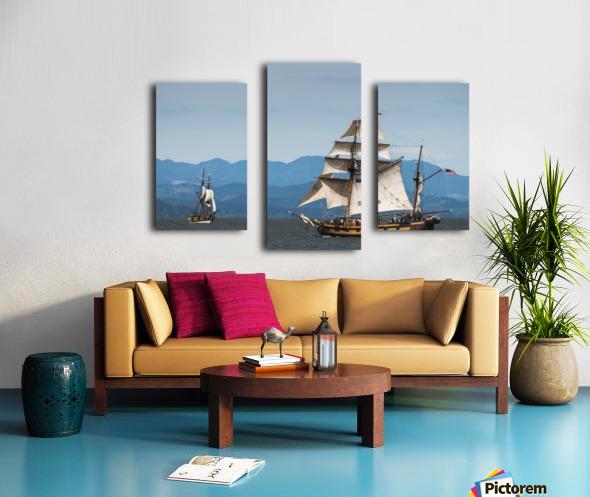 Tall ships sail on the Columbia River near Astoria; Oregon, United States of America Canvas print