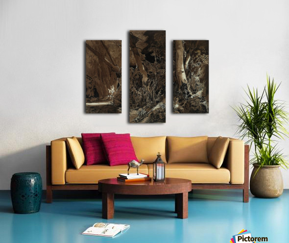 Forest landscape with flowing water and two hunters Canvas print