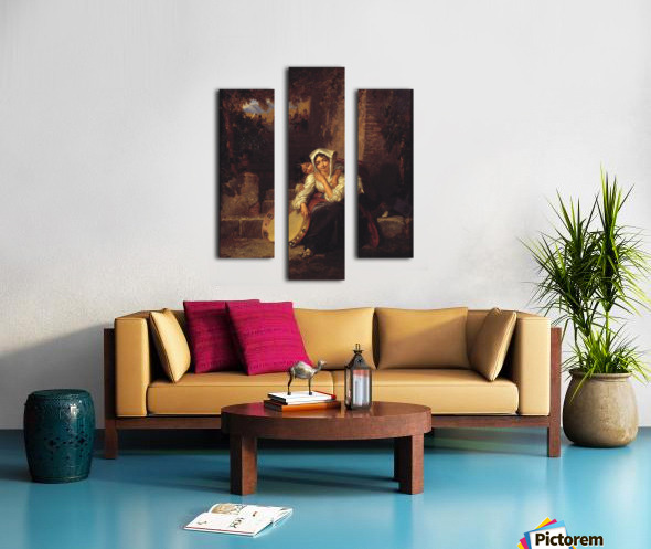 Two girls and a tamburine Canvas print