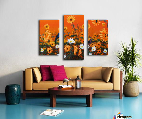 Sunflowers & Prickly Poppies Canvas print