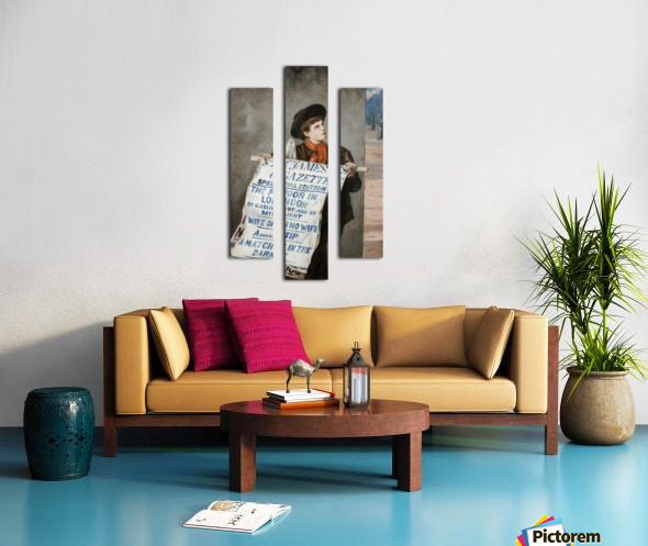 A small boy advertising the news Canvas print