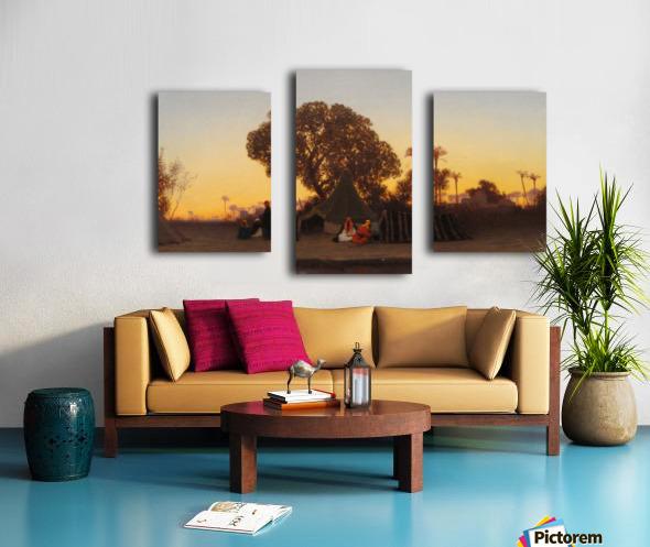 Arab encampment at sunset Canvas print