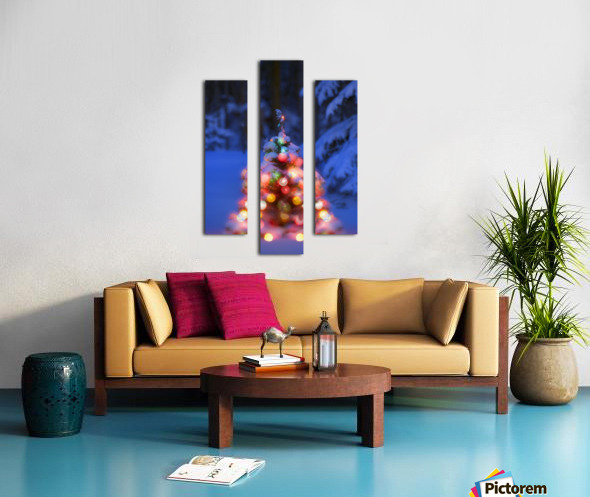 Illuminated Christmas Tree In A Forest Canvas print