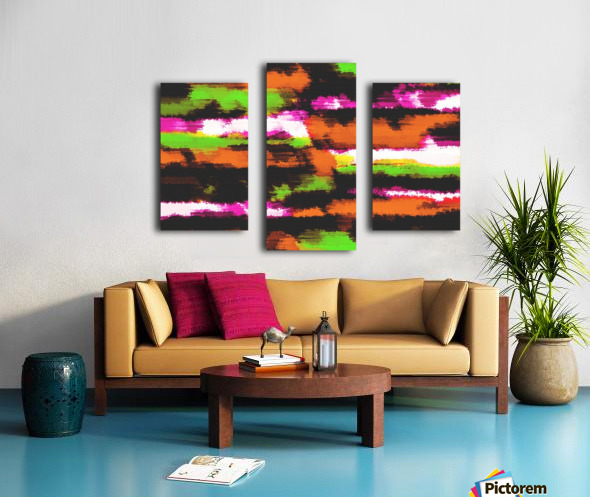 orange black pink green grunge painting texture abstract background Canvas print
