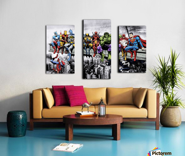 Marvel and DC Superheroes Lunch Atop A Skyscraper Featuring Captain America, Iron Man, Batman, Wolverine, Deadpool, Hulk, Flash & Superman Canvas print