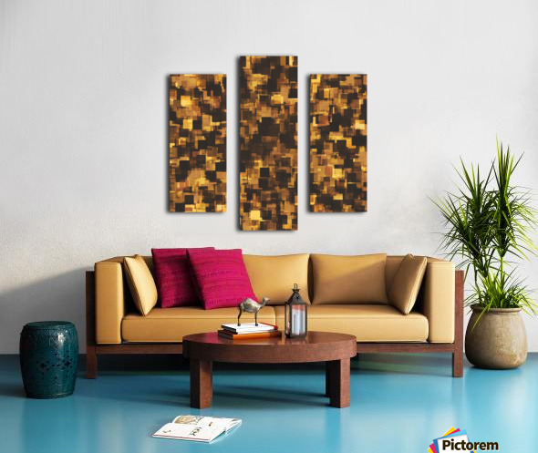 geometric square pattern abstract in brown and black Canvas print