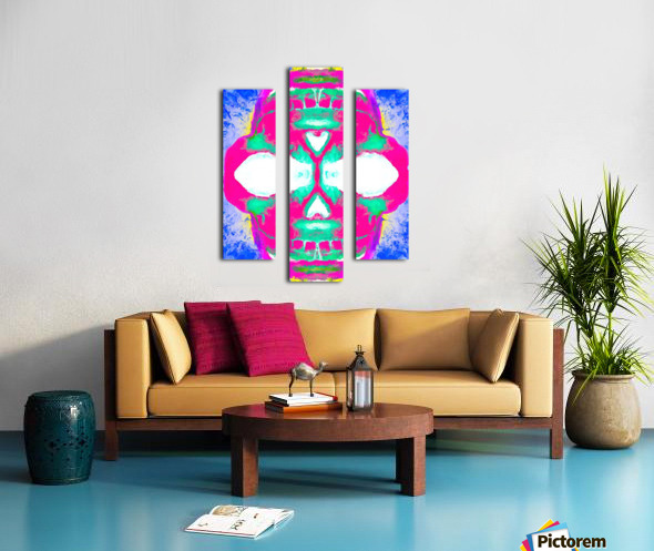 painting pink smiling skull head with blue and yellow background Canvas print
