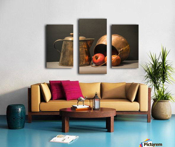 Copper Pots Pomegranate Apple Canvas print