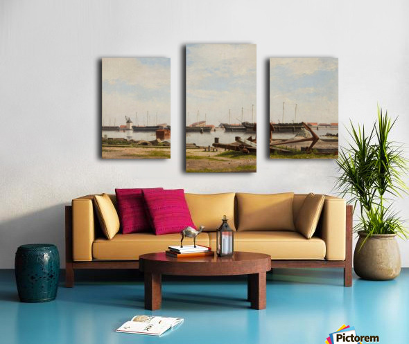 View of the wharf at Nyholm with the crane and some warships Canvas print