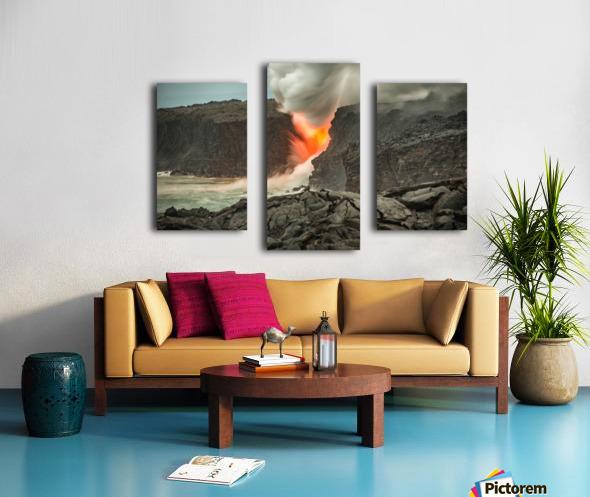 Lava Entering the Ocean Canvas print