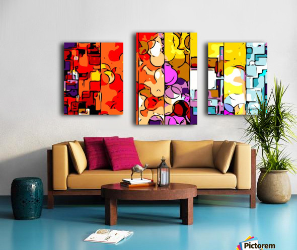 psychedelic geometric graffiti drawing and painting in orange pink red yellow blue brown purple and yellow Canvas print
