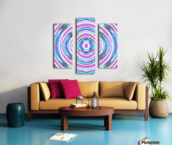 psychedelic graffiti circle pattern abstract in pink blue purple Canvas print