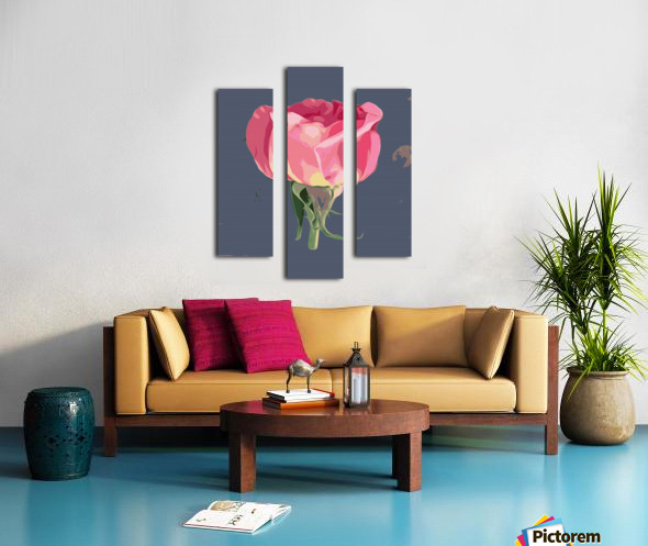 pink rose with grey background Canvas print