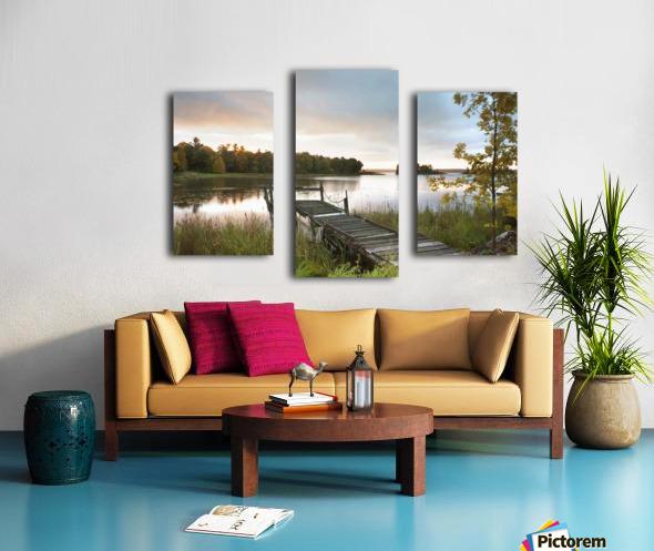 A Dock On A Lake At Sunrise Near Wawa; Ontario, Canada Canvas print