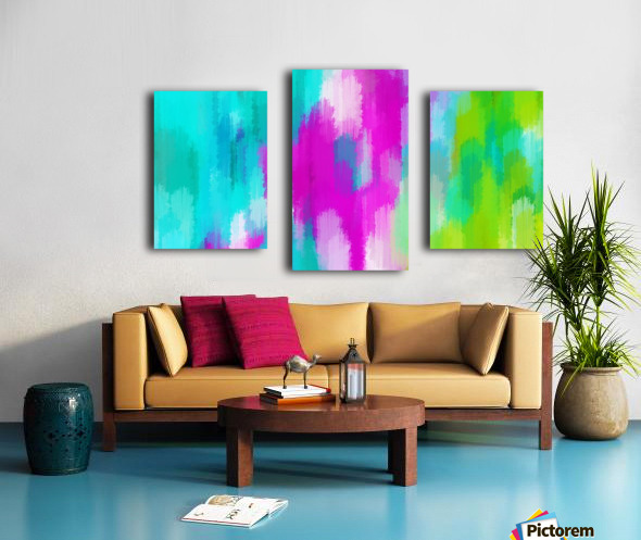 blue pink and green painting abstract background Canvas print