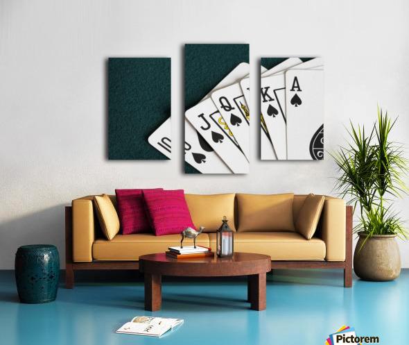 Close-Up Of Blackjack Playing Cards Showing Spades Royal Flush Canvas print