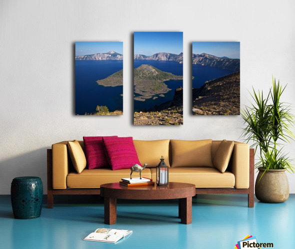 West rim view of Crater Lake overlooking Wizard Island Canvas print