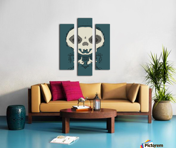 skull and bone graffiti drawing with green background Canvas print