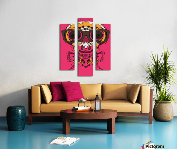 funny skull and bone graffiti drawing in orange brown and pink Canvas print