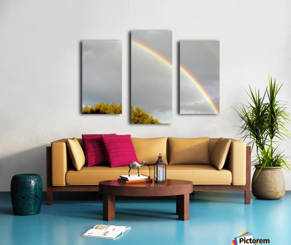 Landscape, photography - Double rainbow on Roman sky with tree - The Roman landscape, Rome, Italy, photography Canvas print
