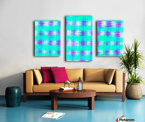 plaid pattern graffiti painting abstract in blue green and pink Canvas print