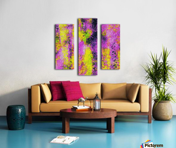 vintage psychedelic painting texture abstract in pink and yellow with noise and grain Canvas print