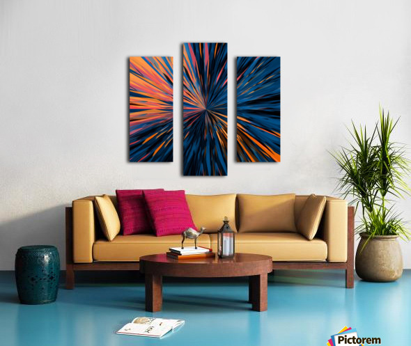 psychedelic splash painting abstract pattern in orange brown pink blue Canvas print