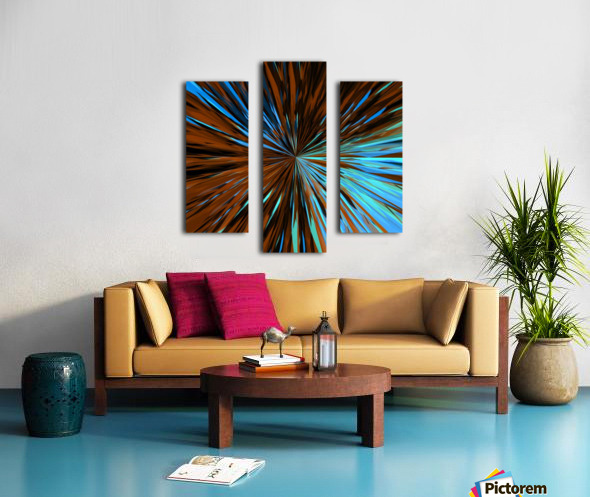 psychedelic splash painting abstract pattern in brown and blue Canvas print