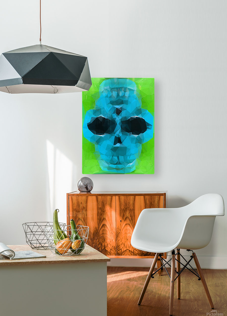psychedelic skull art geometric triangle abstract pattern in blue and green  HD Metal print with Floating Frame on Back