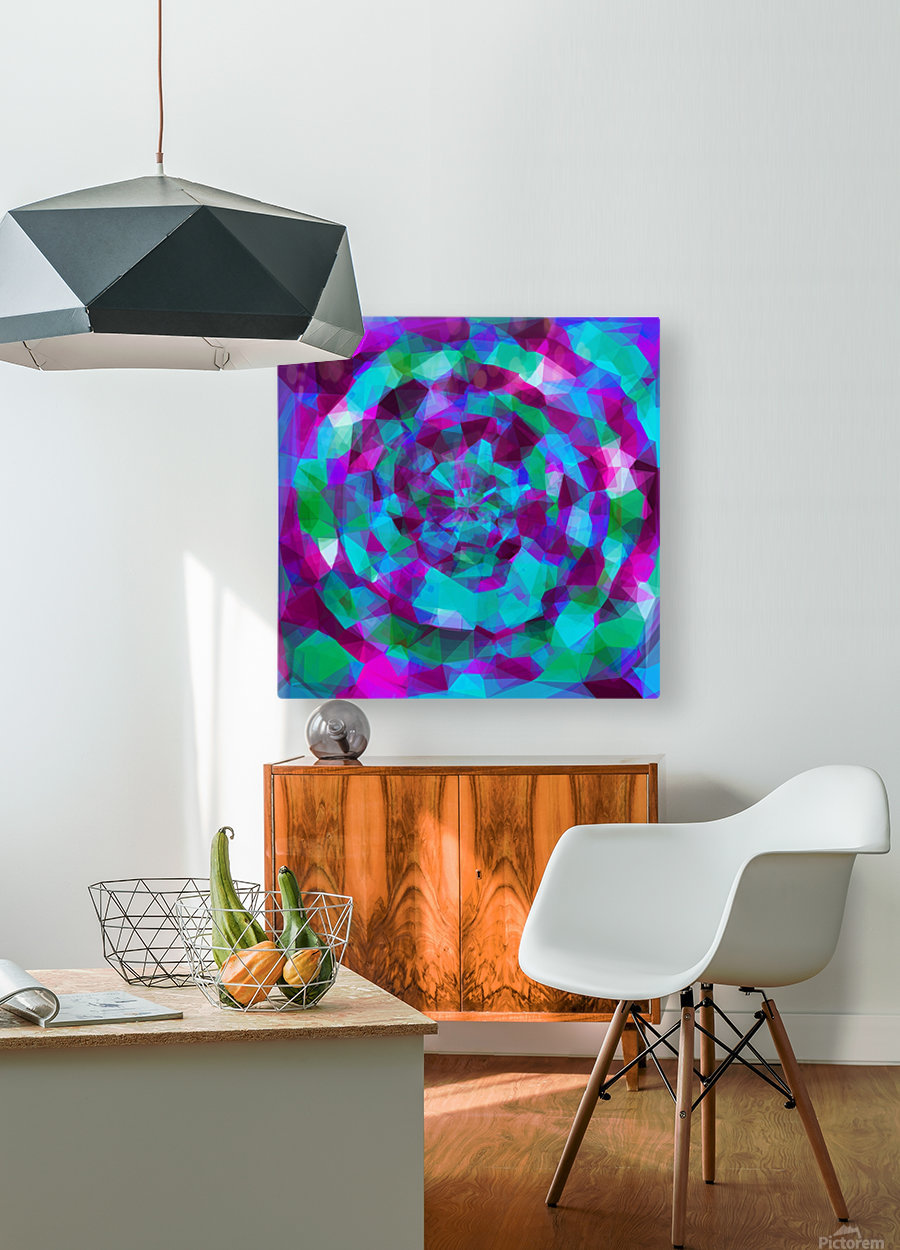 psychedelic geometric polygon pattern abstract in pink purple blue  HD Metal print with Floating Frame on Back