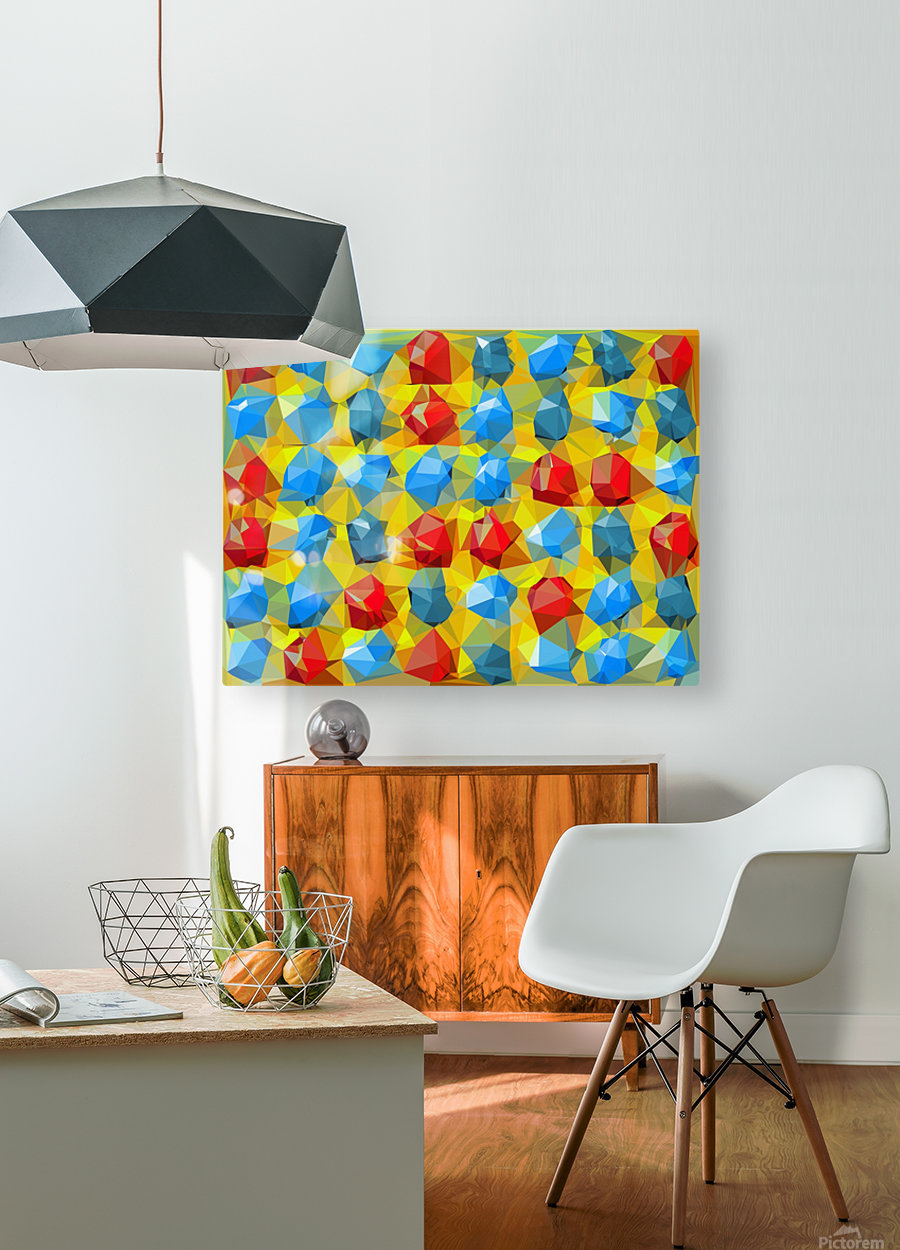geometric polygon abstract pattern yellow blue red  HD Metal print with Floating Frame on Back