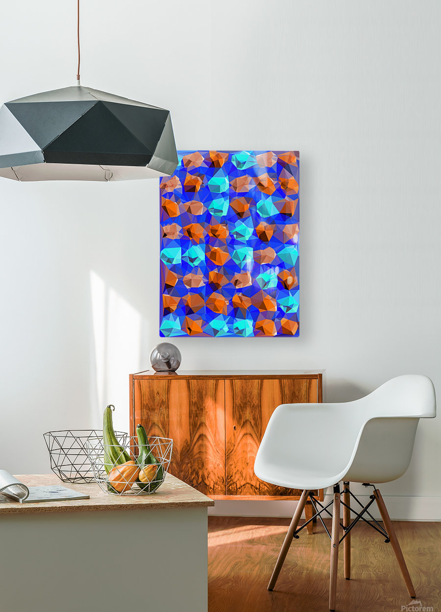 geometric polygon abstract pattern in blue and brown  HD Metal print with Floating Frame on Back