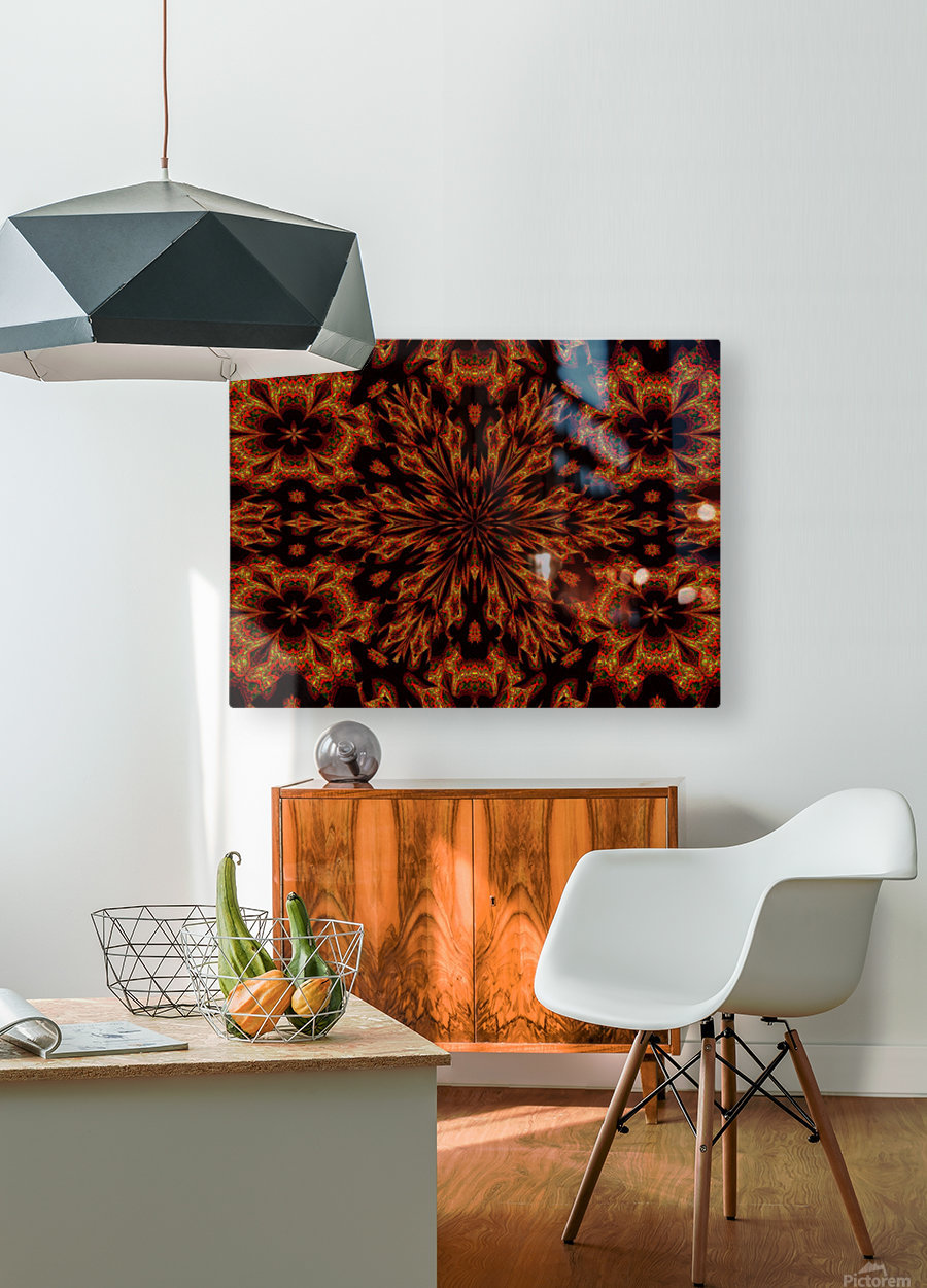 Golden Night Flower  HD Metal print with Floating Frame on Back