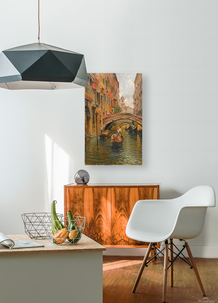 A walk with the gondola along a small canal in Venice  HD Metal print with Floating Frame on Back