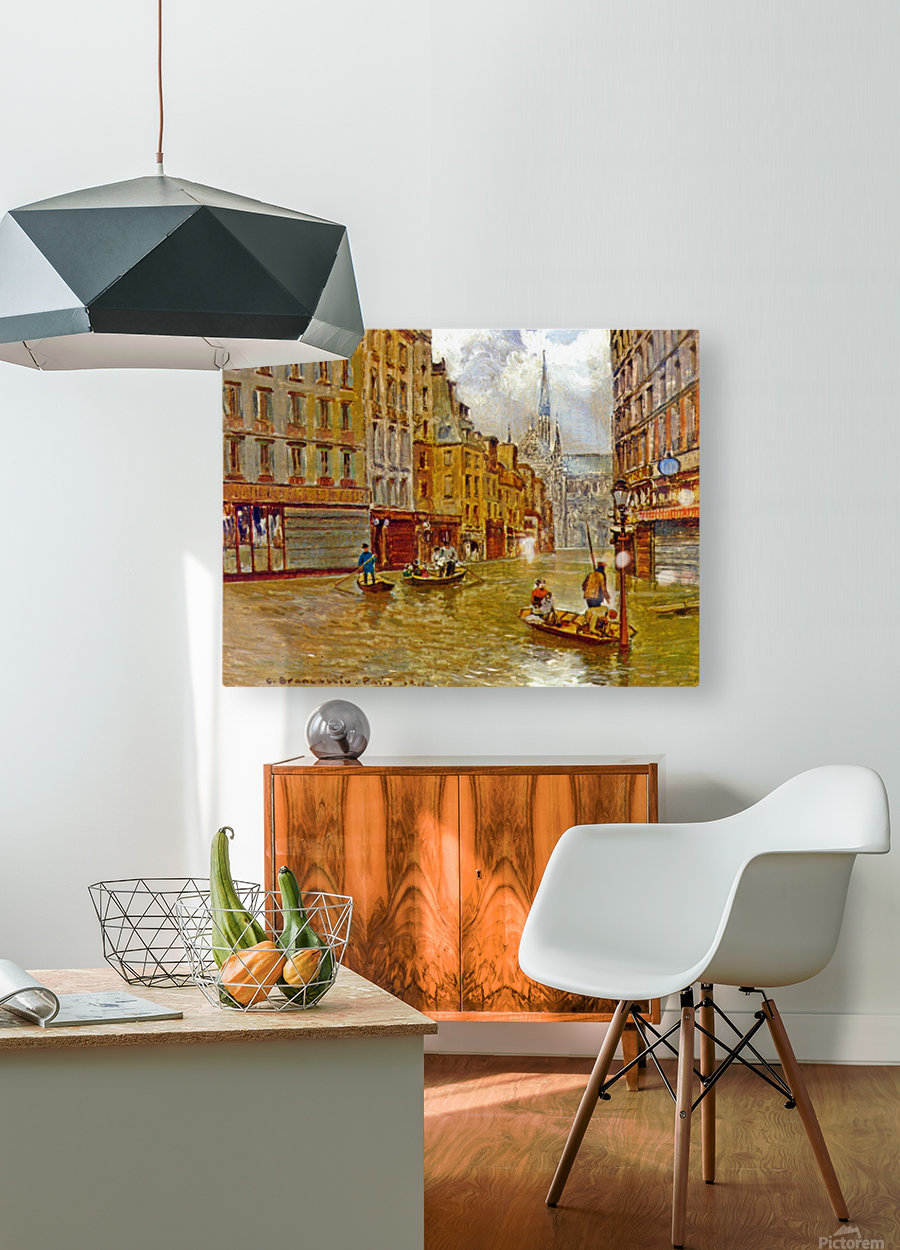 Street in Paris during Flood of 1910  HD Metal print with Floating Frame on Back