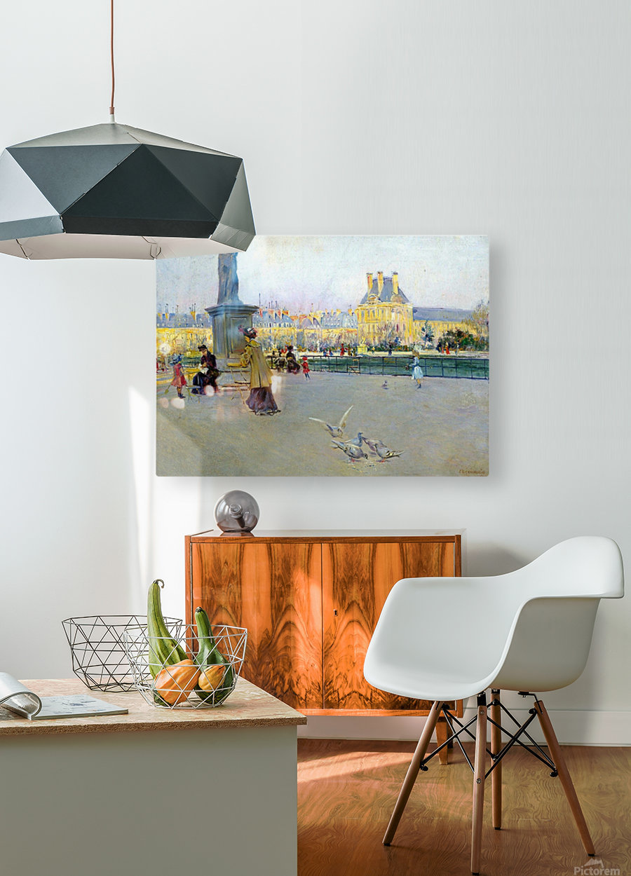 City view with figures and birds in Paris  HD Metal print with Floating Frame on Back