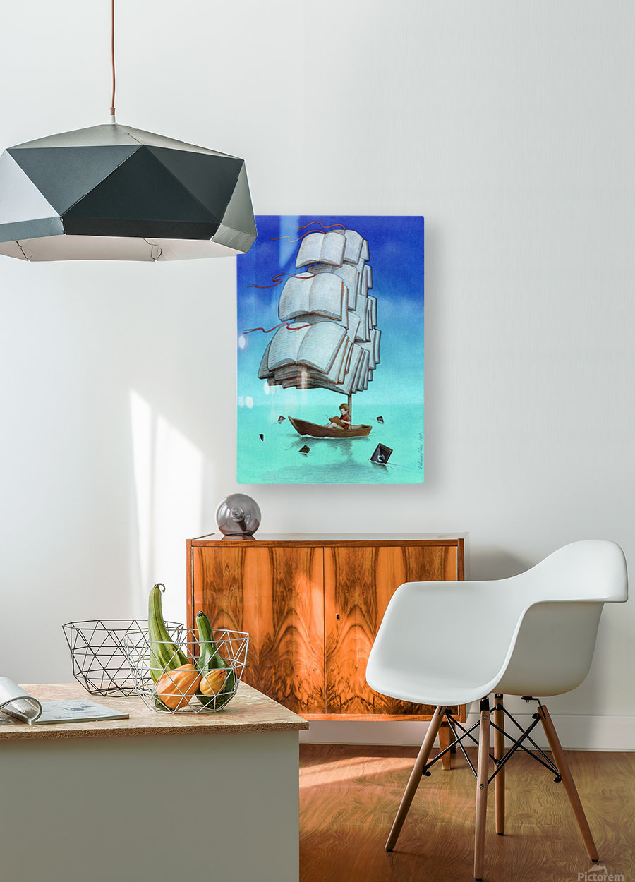 Journey with sharks  HD Metal print with Floating Frame on Back