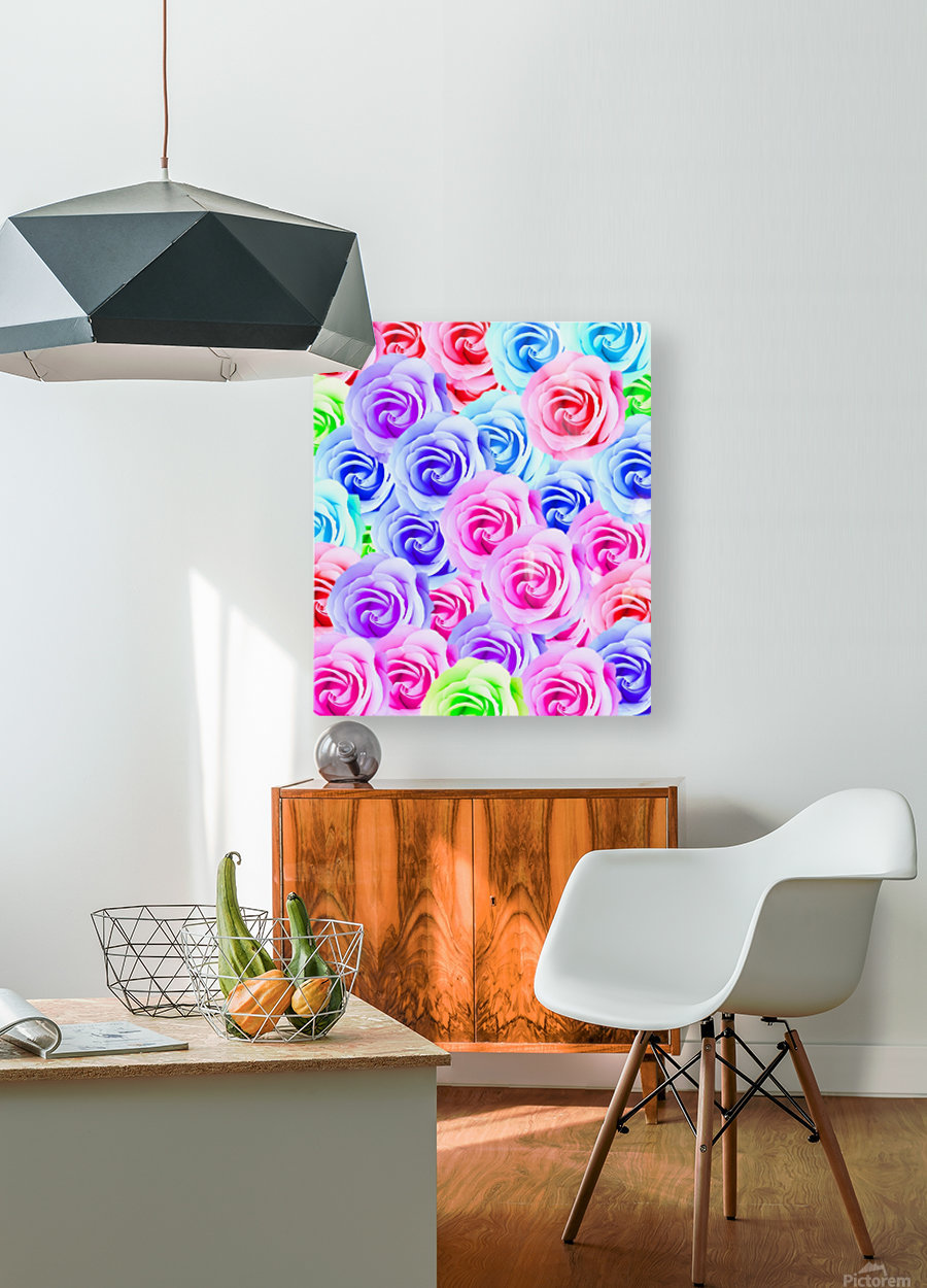 closeup colorful rose texture background in pink purple blue green  HD Metal print with Floating Frame on Back