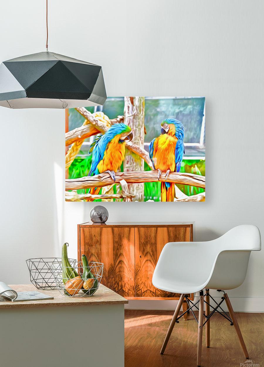 BirdsTalking  HD Metal print with Floating Frame on Back